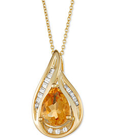 "Citrine (1 ct. t.w.) & Diamond (1/10 ct. t.w.) 18"" Pendant Necklace in 14k Gold"