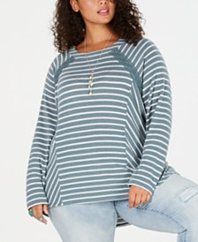 Eyeshadow Trendy Plus Size Striped Crochet-Trim Top