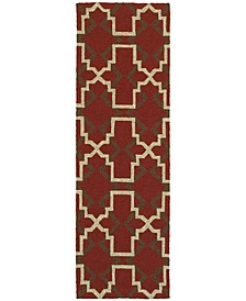 "CLOSEOUT!   Atrium Indoor/Outdoor 51103 Red/Brown 2'6"" x 8' Runner Area Rug"