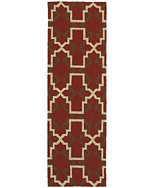 "CLOSEOUT! Tommy Bahama Home   Atrium Indoor/Outdoor 51103 Red/Brown 2'6"" x 8' Runner Area Rug"