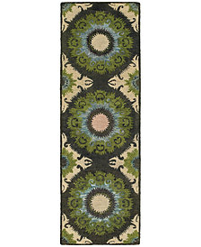 "Tommy Bahama Home  Jamison 53307 Black/Green 2'6"" x 8' Runner Area Rug"
