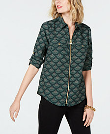MICHAEL Michael Kors Zip-Front Utility Shirt, in Regular and Petite Sizes