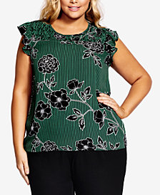 City Chic Trendy Plus Size Striped Floral-Print Top