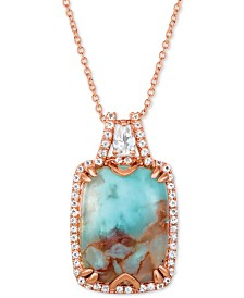 "Le Vian® Sky Aquaprase (16 x 12mm) & White Topaz (3/8 ct. t.w.) 18"" Pendant Necklace in 14k Rose Gold, Created for Macy's"