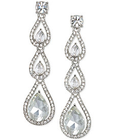 Jewel Badgley Mischka Silver-Tone Crystal Linear Drop Earrings