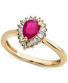 Ruby (3/4 ct. t.w.) & Diamond (1/4 ct. t.w.) Ring in 14k Gold(Also Available in Emerald & Sapphire)