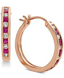 Certified Ruby (3/8 ct. t.w.) & Diamond (1/4 ct. t.w.) Hoop Earrings in 14k Rose Gold
