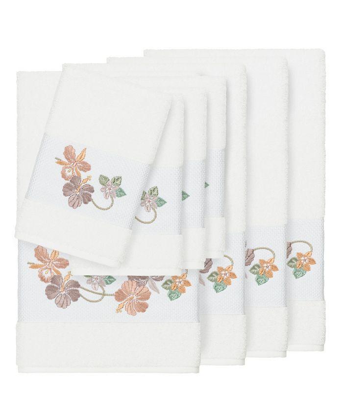 Linum Home - Caroline 8-Pc. Embroidered Turkish Cotton Bath and Hand Towel Set