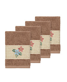 Linum Home Caroline 4-Pc. Embroidered Turkish Cotton Washcloth Set