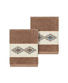 Linum Home Gianna 2-Pc. Embroidered Turkish Cotton Washcloth Set