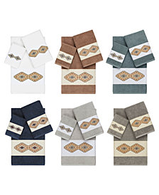 Linum Home Gianna Embroidered Turkish Cotton Bath Towels