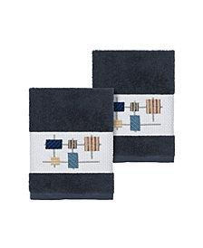 Linum Home Khloe 2-Pc. Embroidered Turkish Cotton Washcloth Set