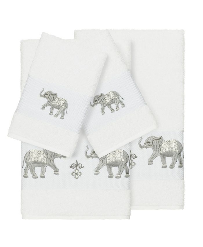Linum Home - Quinn 4-Pc. Embroidered Turkish Cotton Bath and Hand Towel Set