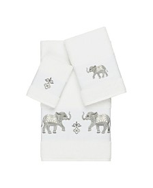 Linum Home Quinn 3-Pc. Embroidered Turkish Cotton Towel Set