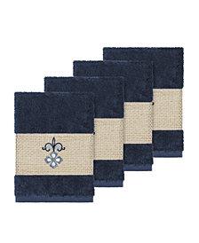 Linum Home Quinn 4-Pc. Embroidered Turkish Cotton Washcloth Set
