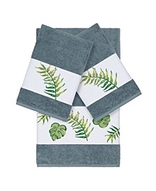 Zoe 3-Pc. Embroidered Turkish Cotton Bath and Hand Towel Set