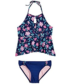 Summer Crush Big Girls 2-Pc. Floral-Print Tankini