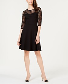 Monteau Petite Lace-Trim Fit & Flare Dress