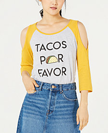 Love Tribe Juniors' Tacos Graphic-Print T-Shirt
