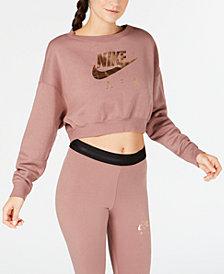 Nike Sportswear Metallic-Logo Cropped Sweatshirt