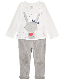 First Impressions Baby Girls Bunny Graphic Top & Pants Separates, Created for Macy's