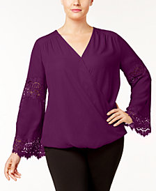 I.N.C. Plus Size Lace-Inset Surplice Blouse, Created for Macy's