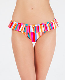 California Waves Aruba Striped Ruffle Hipster Bottoms, Created for Macy's