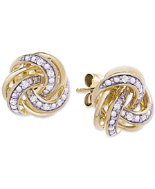 Diamond Knot Stud Earrings (1/10 ct. t.w.) in 14k Gold-Plated Sterling Silver