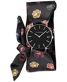 COACH Women's Perry Peony Satin Scarf Wrap Watch 36mm