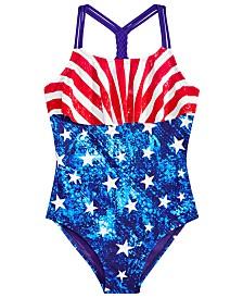 Breaking Waves Big Girls 1-Pc. Stars & Stripes Flounce Swimsuit