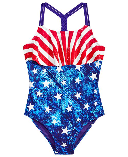 2f44602a535ef ... Breaking Waves Big Girls 1-Pc. Stars & Stripes Flounce Swimsuit ...