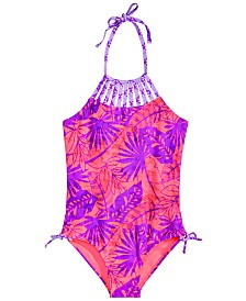 Breaking Waves Big Girls 1-Pc. Printed Strappy-Neck Swimsuit