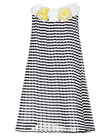 Blueberi Boulevard Baby Girls Pleated Striped Chiffon Dress