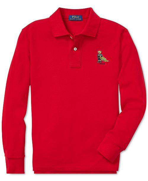 9e733485b Polo Ralph Lauren Big Boys Holiday Bear Long-Sleeve Cotton Polo ...
