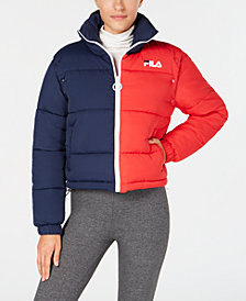 Fila Colorblocked Convertible Cropped Puffer Jacket