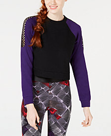 Material Girl Juniors' Colorblocked Mesh-Trim Sweatshirt, Created for Macy's