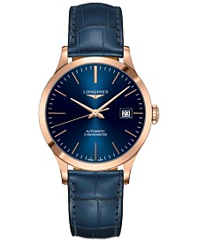 Longines Men's Swiss Automatic Record Blue Alligator Leather Strap Watch 39mm