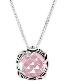 Peter Thomas Roth Rose Quartz Adjustable Pendant Necklace (4 ct. t.w.) in Sterling Silver