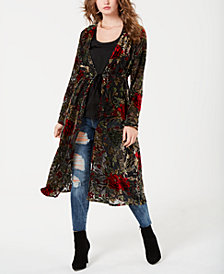 GUESS Stephanie Velvet-Embroidered Duster Cardigan