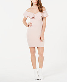 GUESS Shaye Ruffle-Trim Bodycon Dress