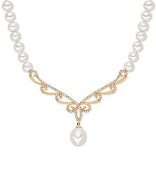 "White Cultured Freshwater Pearl (5-6 & 8mm) & Diamond (1/3 ct. t.w.) 17"" Collar Necklace in 14k Gold"