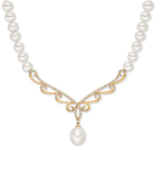 """Honora White Cultured Freshwater Pearl (5-6 & 8mm) & Diamond (1/3 ct. t.w.) 17"""" Collar Necklace in 14k Gold"""