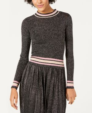 LUCY PARIS Nicole Striped-Trim Metallic Sweater in Black