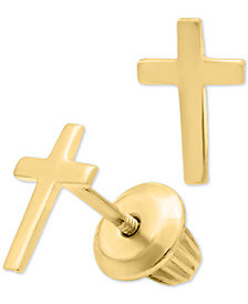 Children's Cross Safety-Back Earrings in 14k Gold