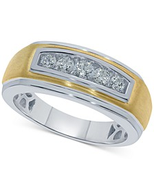 Men's Diamond Two-Tone Ring (1/2 ct. t.w.) in Sterling Silver & 18k Gold-Plate
