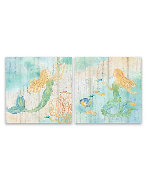 "Artissimo Designs Sea Splash Mermaid Printed Canvas Art - 14"" W x 14"" H x 2.5"" D"