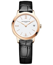Women's Swiss Classima Black Leather Strap Watch 31mm