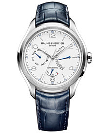 Baume & Mercier Men's Swiss Automatic Clifton Blue Alligator Leather Strap Watch 43mm