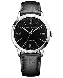 Men's Swiss Automatic Classima Black Leather Strap Watch 42mm