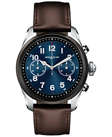 Montblanc Men's Swiss Summit 2 Brown Leather Strap Touchscreen Smart Watch 42mm, Created for Macy's